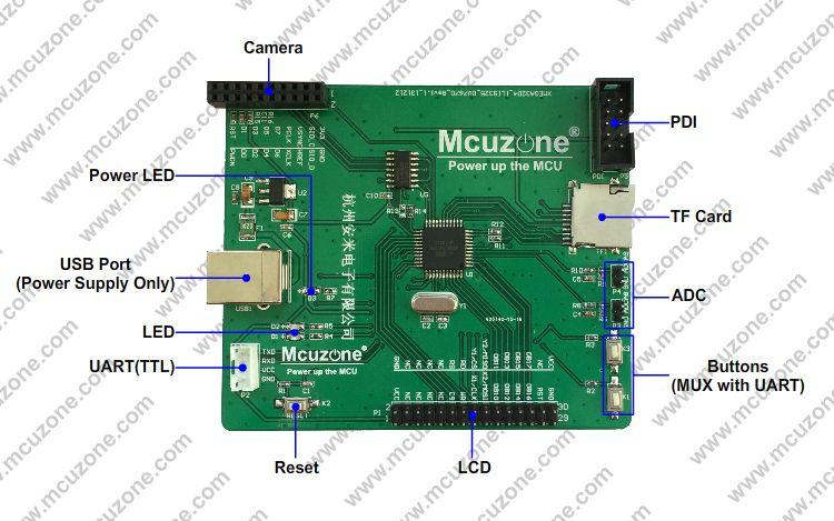 XMEGA摄像头开发板采用ATXMEGA32D4做为控制器,OV7670摄像头模块做为图像输入,2.8寸240×320分辨率TFTLCD做为显示单元,同时板载TF卡,按键,LED,2路ADC,TTL串口,可用于学习XMEGA。 【硬件资源】