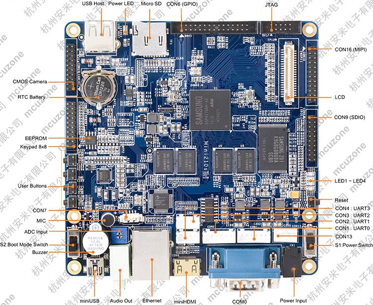 【产品简介】 Mini210s是一款高性能的Cortex A8开发板,它由广州友善之臂设计、生产和发行销售。它采用三星S5PV210作为主处理器,运行主频可高达1GHz。S5PV210内部集成了PowerVR SGX540高性能图形引擎,支持3D图形流畅运行,并可流畅播放1080P大尺寸视频。 Mini210s秉承了Mini2440和Mini6410精于心,简于形的设计风格,它接口齐全,结构紧凑,布局合理,可完美搭配使用4.